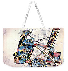 Weekender Tote Bag featuring the digital art Learning To Paint by Pennie McCracken