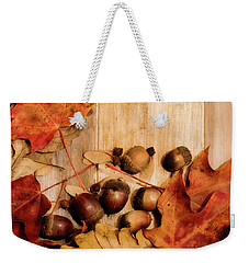 Weekender Tote Bag featuring the photograph Leaves And Nuts 2 by Rebecca Cozart