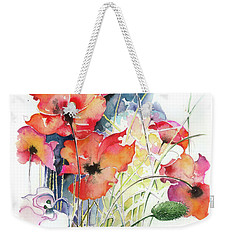 Weekender Tote Bag featuring the painting Leaving The Shadow by Anna Ewa Miarczynska