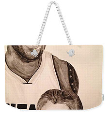 Weekender Tote Bag featuring the painting Lebron And Carter by Tamir Barkan