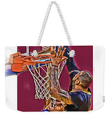 Lebron James Cleveland Cavaliers Oil Art Weekender Tote Bag by Joe Hamilton