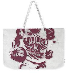 Lebron James Cleveland Cavaliers Pixel Art 4 Weekender Tote Bag by Joe Hamilton