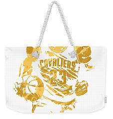 Lebron James Cleveland Cavaliers Pixel Art 7 Weekender Tote Bag by Joe Hamilton