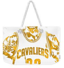 Lebron James Cleveland Cavaliers Pixel Art 8 Weekender Tote Bag by Joe Hamilton