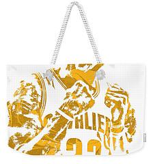 Lebron James Cleveland Cavaliers Pixel Art 9 Weekender Tote Bag by Joe Hamilton