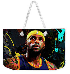 Weekender Tote Bag featuring the painting Lebron by Richard Day