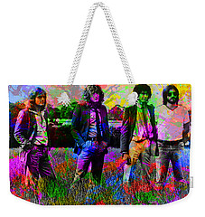 Led Zeppelin Band Portrait Paint Splatters Pop Art Weekender Tote Bag by Design Turnpike