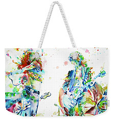 Led Zeppelin Live Concert - Watercolor Portrait.1 Weekender Tote Bag by Fabrizio Cassetta