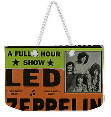 Led Zeppelin Live In Concert At The Baltimore Civic Center Poster Weekender Tote Bag by R Muirhead Art