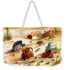 Weekender Tote Bag featuring the painting Left Behind - Indian Pottery by Marilyn Smith