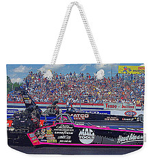 Weekender Tote Bag featuring the photograph Legends At The Line by Jerry Battle