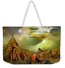 Weekender Tote Bag featuring the digital art Legends Of The Sky People  by Shadowlea Is