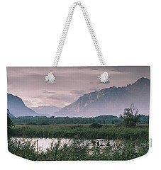 Leisure Boat On River Adda In Northern Italy, Close To Lake Como - Reflection Of Italian Alps Weekender Tote Bag