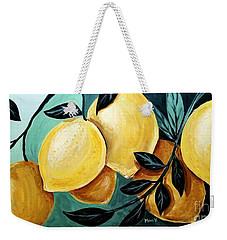 Weekender Tote Bag featuring the painting Lemons by Maria Langgle