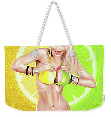 Weekender Tote Bag featuring the drawing Lemons Or Limes by Brian Gibbs