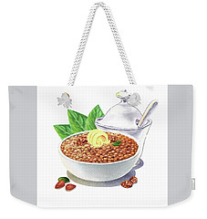 Weekender Tote Bag featuring the painting Lentil Soup Watercolor Food Illustration by Irina Sztukowski