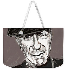 Weekender Tote Bag featuring the painting Leonard Cohen  by Jim Vance