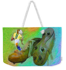 Leonidas And Soccer Shoes Weekender Tote Bag by Caito Junqueira