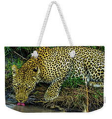 Leopard At A Pond Weekender Tote Bag