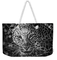 Leopard, Black And White Weekender Tote Bag