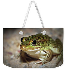Weekender Tote Bag featuring the photograph Leopard Frog by Elaine Malott