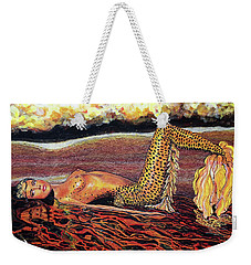 Weekender Tote Bag featuring the painting Leopard Mermaid by Debbie Chamberlin