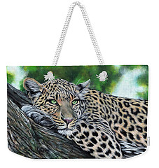 Leopard On Branch Weekender Tote Bag