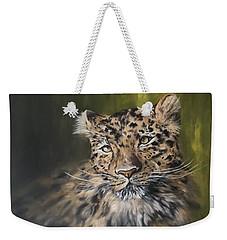 Leopard Relaxing Weekender Tote Bag by Jean Walker