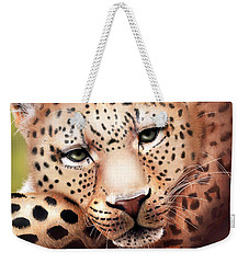 Leopard Resting Weekender Tote Bag by Angela Murdock