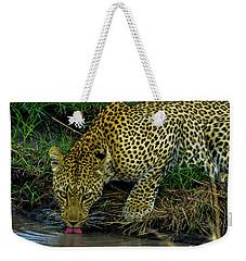 Leopoard Drinking At A Pond Weekender Tote Bag