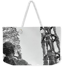 Weekender Tote Bag featuring the photograph Les Castellers Monument In Tarragona by Eduardo Jose Accorinti