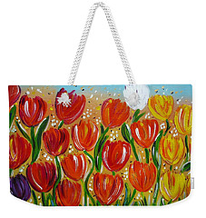 Weekender Tote Bag featuring the painting Les Tulipes - The Tulips by Gioia Albano