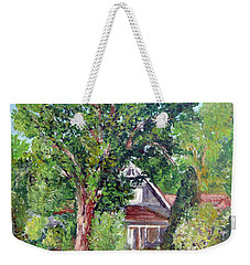 Weekender Tote Bag featuring the painting Lesher Homestead Boulder Co by Tom Roderick