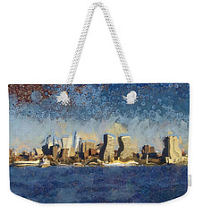 Weekender Tote Bag featuring the mixed media Less Wacky Philly Skyline by Trish Tritz
