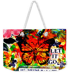 Weekender Tote Bag featuring the mixed media Let It Go by Genevieve Esson