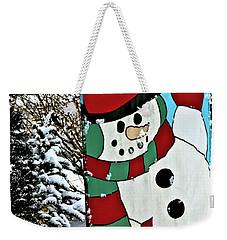 Let It Snow - Happy Holidays Weekender Tote Bag by Carol F Austin