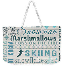 Weekender Tote Bag featuring the digital art Let It Snow by Jean Plout