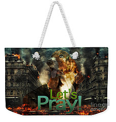 Weekender Tote Bag featuring the digital art Let Us Pray by Kathy Tarochione