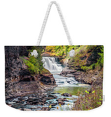 Letchworth Lower Falls In Autumn Weekender Tote Bag