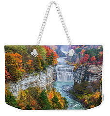 Letchworth Middle Falls In Fall Weekender Tote Bag by Mark Papke