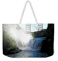 Weekender Tote Bag featuring the photograph Letchworth State Park Upper Falls And Railroad Trestle Abstract by Rose Santuci-Sofranko