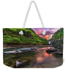 Weekender Tote Bag featuring the photograph Letchworth Upper Falls At Dusk by Mark Papke