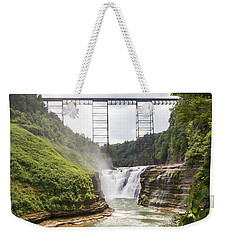 Weekender Tote Bag featuring the photograph Letchworth Upper Falls by Michael Chatt