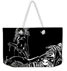 Weekender Tote Bag featuring the drawing Lets Go by Mayhem Mediums