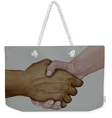 Weekender Tote Bag featuring the painting Let's Shake Hands On It by Kelly Mills