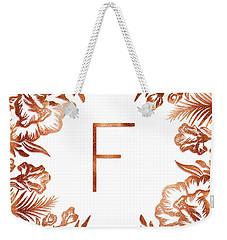 Letter F - Rose Gold Glitter Flowers Weekender Tote Bag