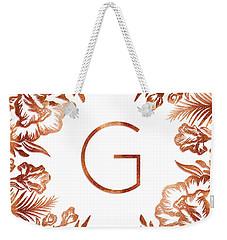 Letter G - Rose Gold Glitter Flowers Weekender Tote Bag