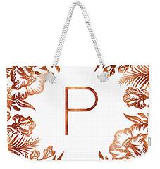 Letter P - Rose Gold Glitter Flowers Weekender Tote Bag