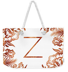 Letter Z - Faux Rose Gold Glitter Flowers Weekender Tote Bag