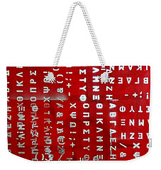 Letters And Numbers Silver On Red Weekender Tote Bag